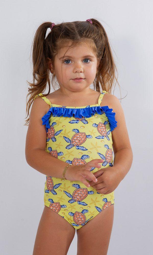 Детски цял бански – жълто