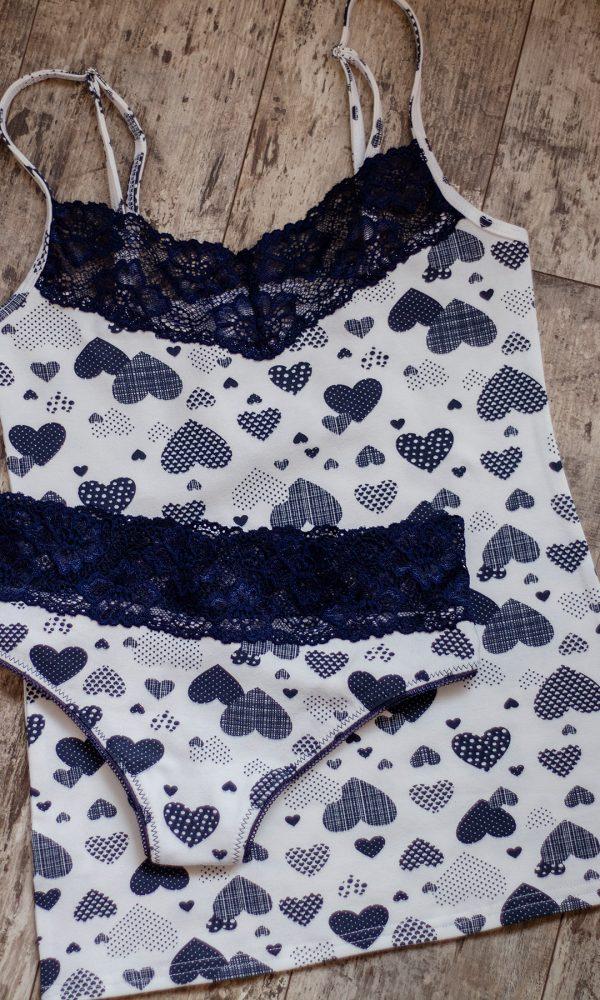 Дамски памучен комплект с бразилияна
